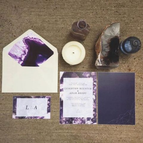 deep purple and cream wedding invites with watercolor and geode prints