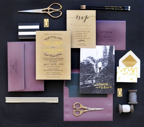 gold and purple wedding invites with photos