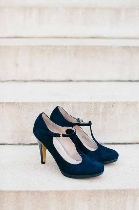 gorgeous navy suede ankle strap shoes