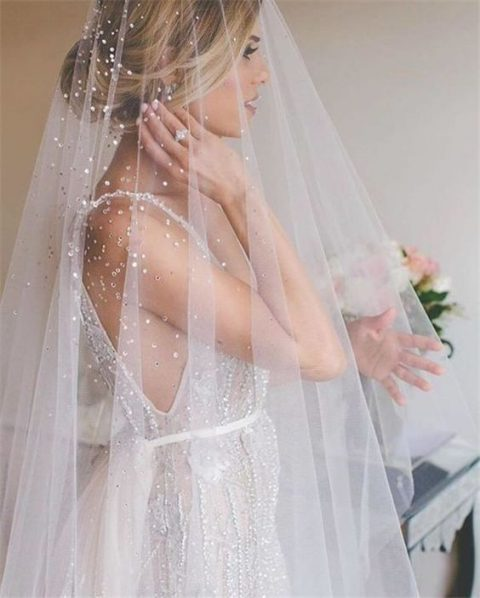 gorgeous sequin and pearl wedding veil