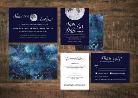 gorgeous starry night wedding invitations