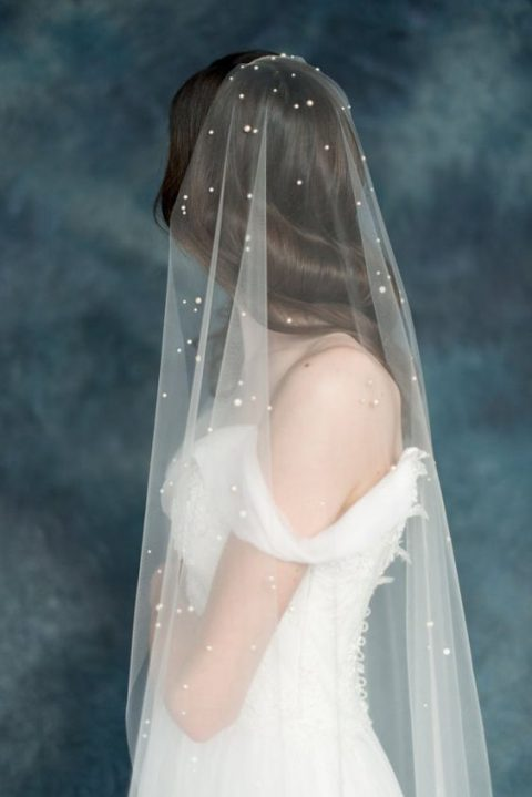 heavenly wedding veil with pearls