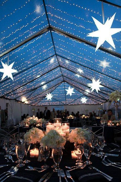 lights and 3D stars over the reception