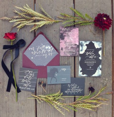 moody grey, black, plum and pink wedding invites with creative calligraphy