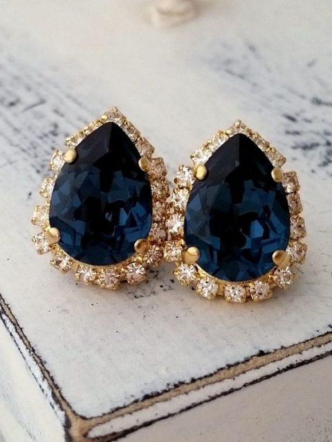 navy and gold statement earrings