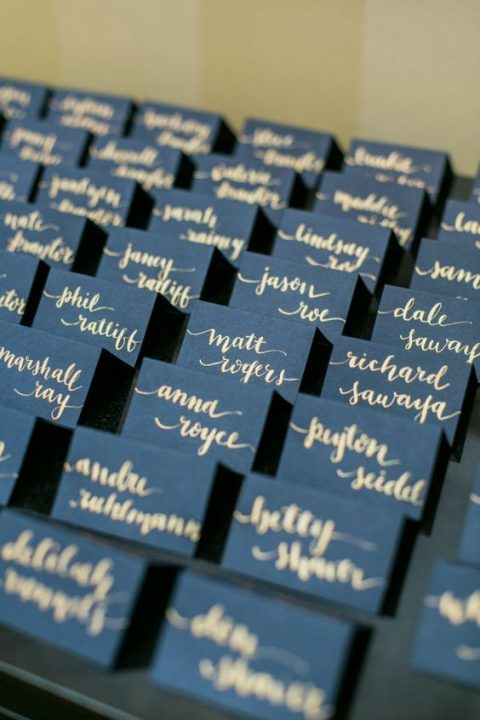 navy and gold wedding seating cards