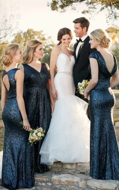 navy sequin bridesmaids' dresses