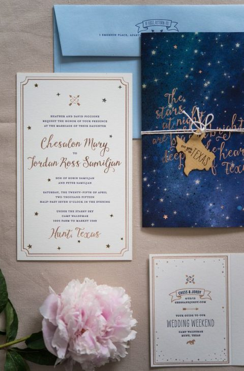 night sky wedding invitations
