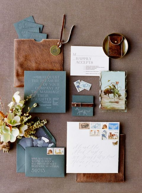 slate blue and brown leather wedidng stationary looks elegant