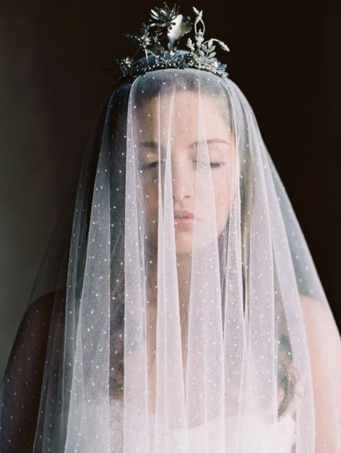 sparkling bridal veil with a crown on top