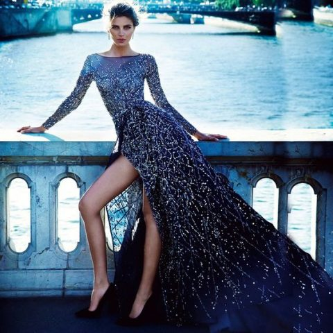 starry night wedding dress with a side slit and heavy embellishments