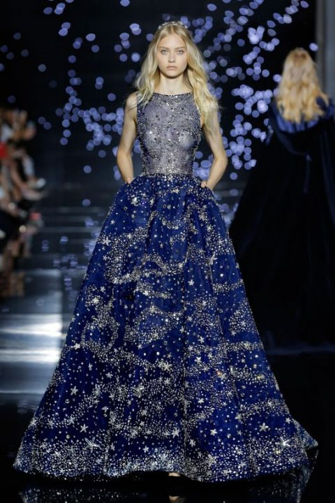 starry night wedding gown with an illusion bodice and heavy embellishments