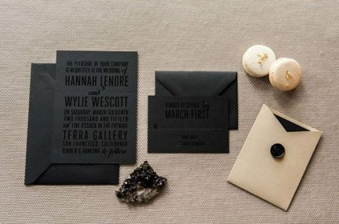 stylish modern black and beige wedidng invites with pressed letters