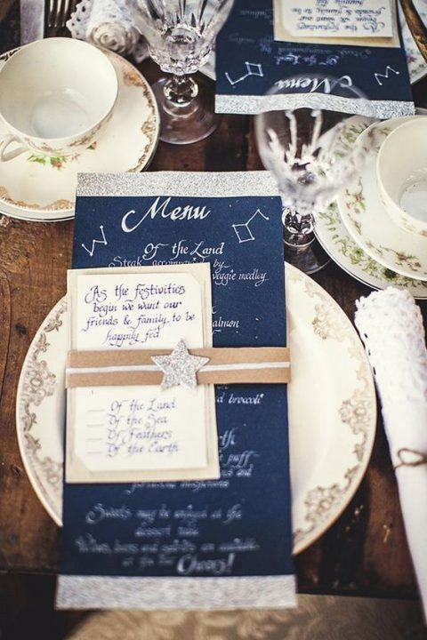 wedding menus with glitter stars and silver