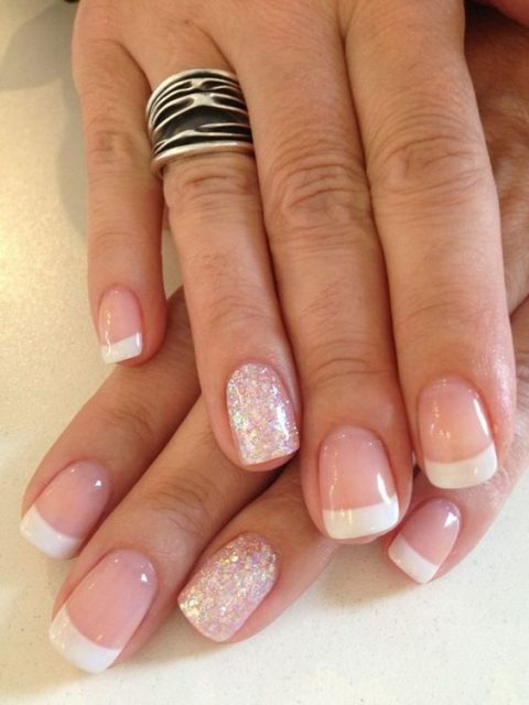French manicure with a silver glitter nail
