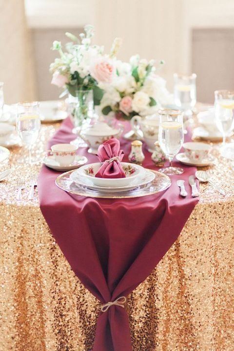 27 winter wedding table runners happywedd a burgundy table runner over a gold sequin tablecloth for a festive wedding junglespirit Images