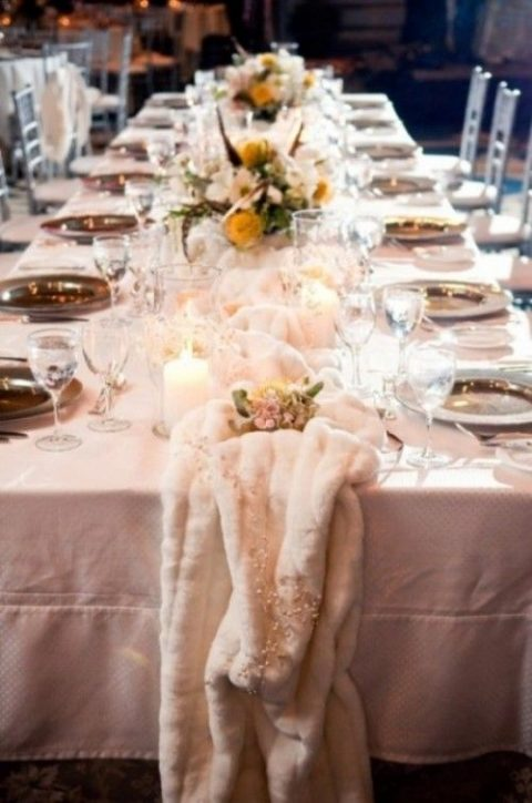 27 winter wedding table runners happywedd a faux fur table runner for a cozy feel junglespirit Choice Image