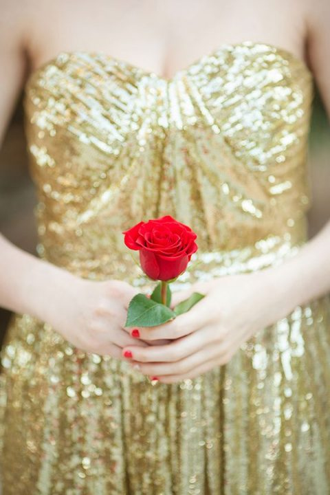 20 elegant red and gold wedding ideas happywedd a gold sequin strapless wedding dress red nails and a red rose junglespirit Image collections