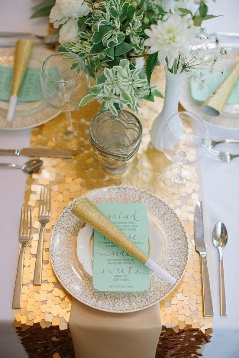 27 winter wedding table runners happywedd a gold sequin table runner for a winter holiday wedding junglespirit Images