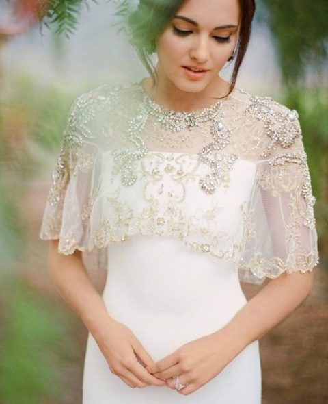 a gorgeous embellished and embroidered capelet