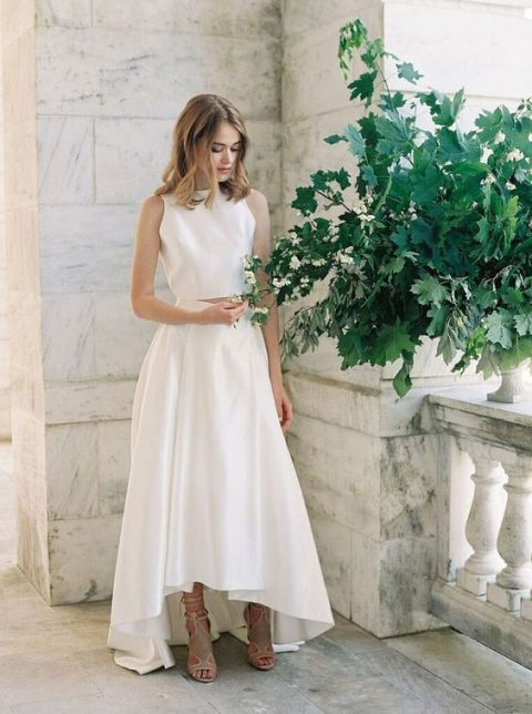 A Minimalist Wedding Separate With Halter Neckline Crop Top And High Low Skirt