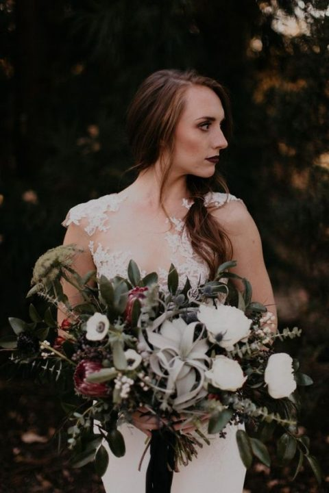 a moody bouquet with air plants_ white and pink blooms