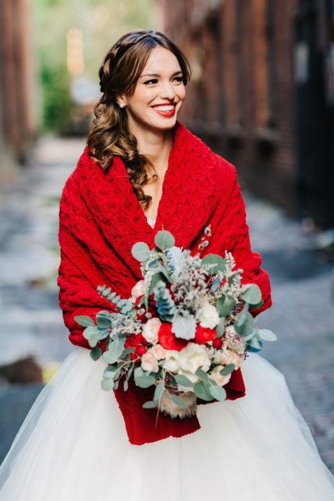 a red knit wedding coverup