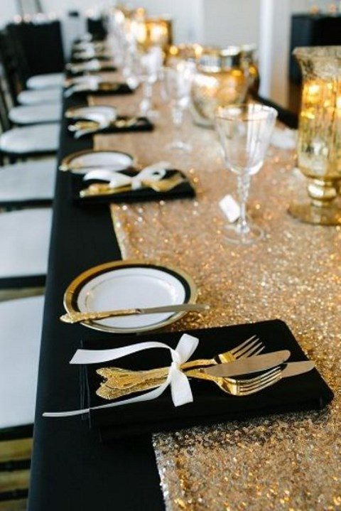 a silver sequin table runner for a stylish New Year's Eve wedding