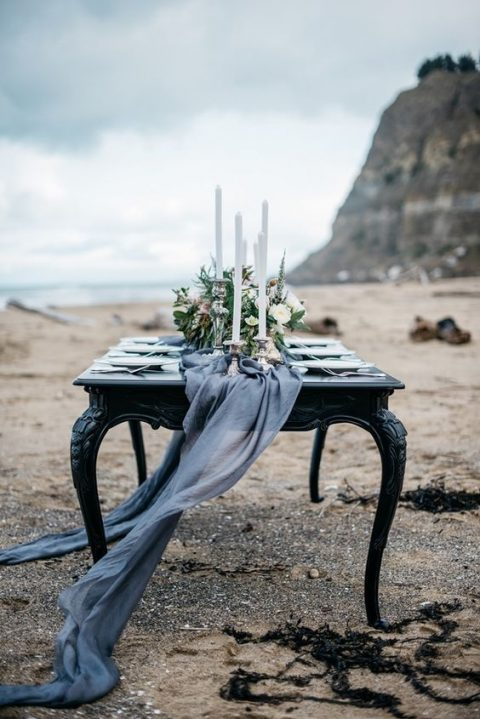 an ethereal grey table runner for a winter seaside wedding