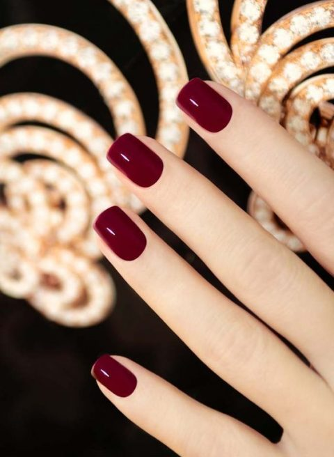 burgundy nails are classics that will fit many styles