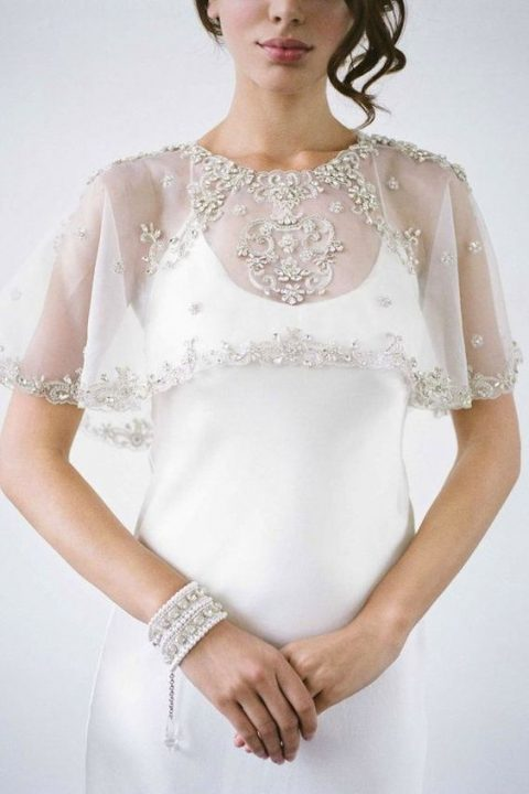 embellished and embroidered wedding capelet