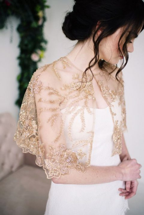 golden beaded capelet with embroidery