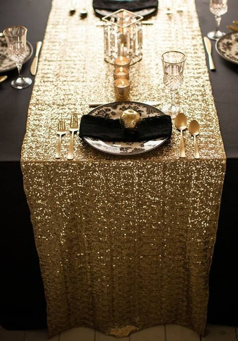 metallic sequin table runner for a holiday table runner