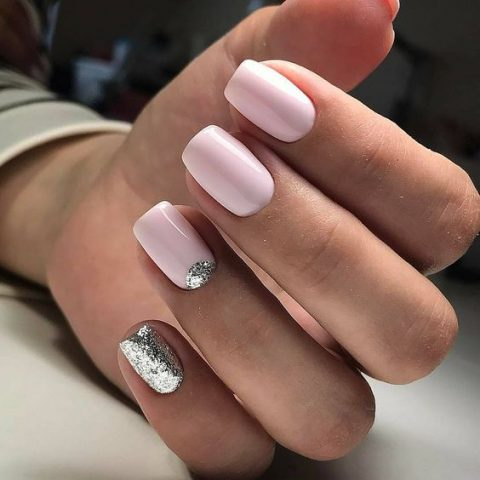 pink nails with silver glitter touches look girlish