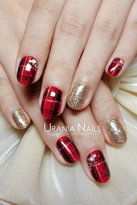 plaid and gold glitter nails plus rhinestones for a Christmas wedding