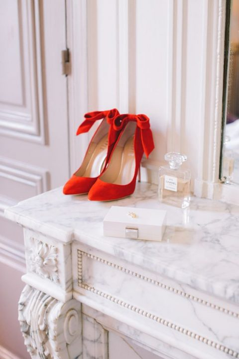 red velvet shoes with back bows