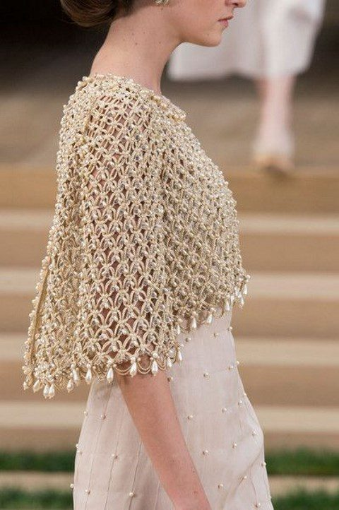 unique metallic capelet with large pearls