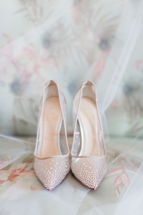 Christian Louboutin blush illusion shoes accented with subtle beading