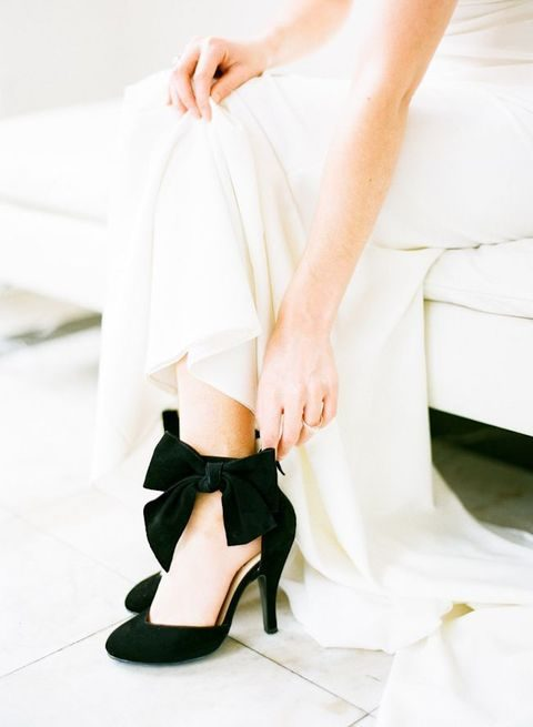 black velvet shoes with ankle bows