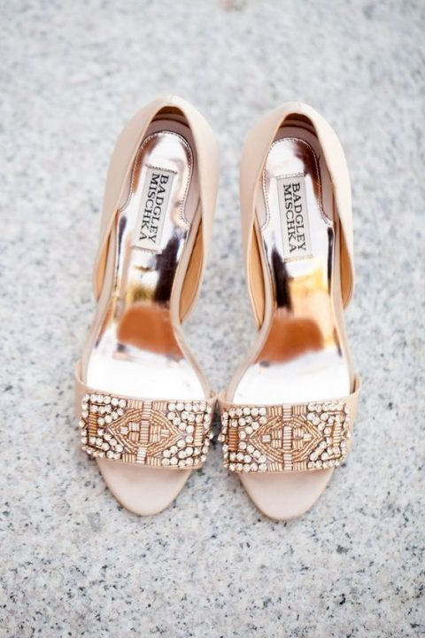 blush peep toe wedding shoes with heavy beading
