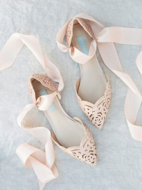 blush studded flats with laser cut and blush ribbons