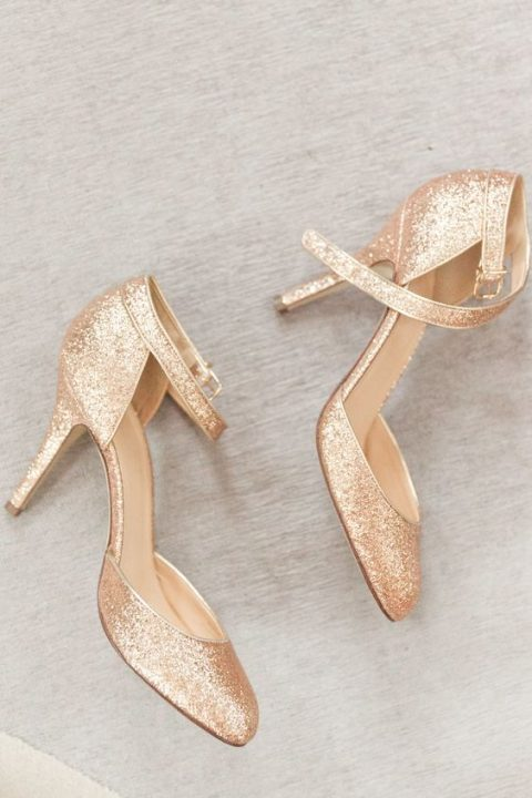 champagne glitter wedding shoes with ankle straps