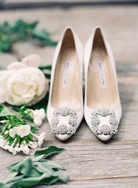 classic jeweled Manolo Blahnik bridal shoes
