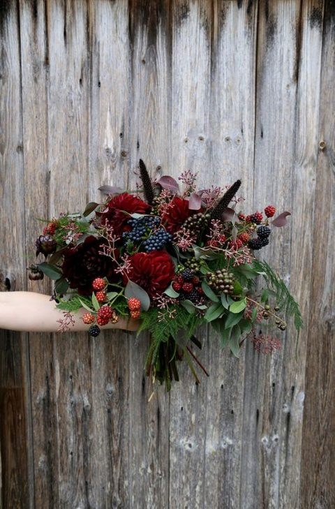 dramatic bridal bouquet of mixed florals and berries in black_ dark burgundy and red