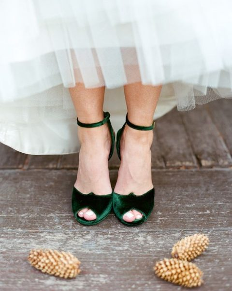 emerald velvet peep toe ankle strap wedding shoes