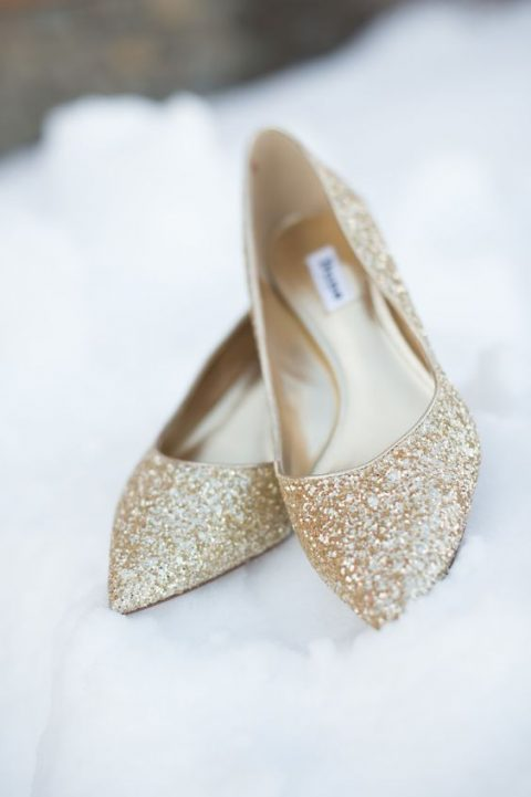 gold glitter wedding flats for winter brides