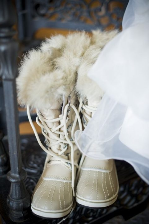 ivory winter wedding boots with fur and lacing up