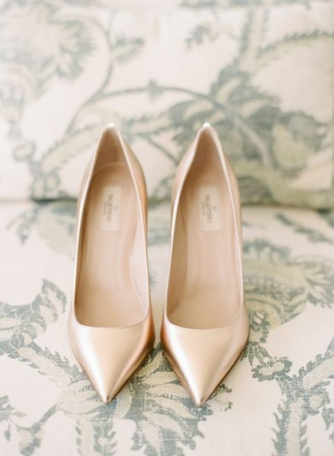 metallic Valentino heels for a cool winter wedding