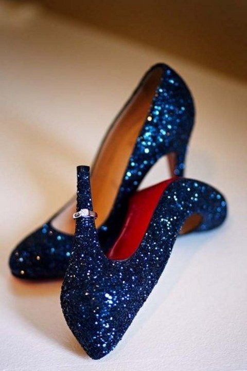 navy glitter wedding shoes for glam winter brides