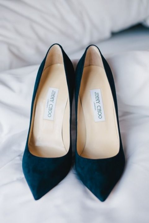 navy suede Jimmy Choo wedding shoes